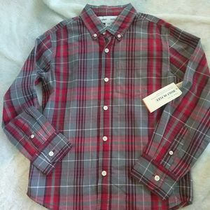 Old Navy| Red and Gray Plaid Button Down Shirt NWT